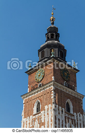 Town hall tower on main square of Krakow - csp11495935