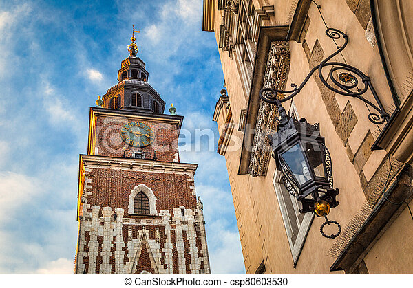 Town Hall Tower on the main market square in Krakow town, Poland. - csp80603530