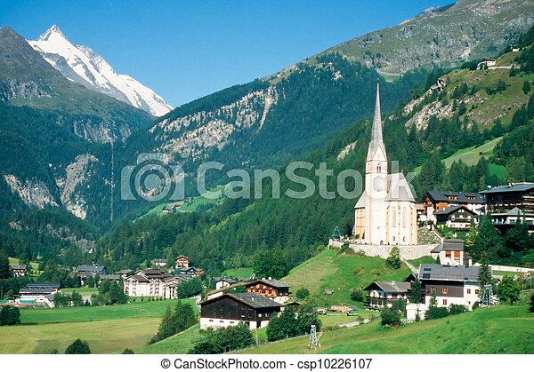 Town of Heiligenblut and Grossglockner in Austria - csp10226107