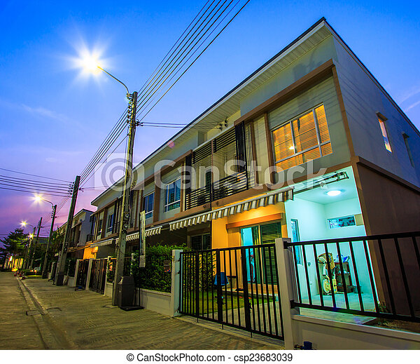 townhome, -, 黄昏, townhouse - csp23683039