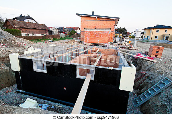 townhouses of a residential building. basement of single family - csp9471966
