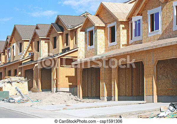 Townhouses Under Construction - csp1591306