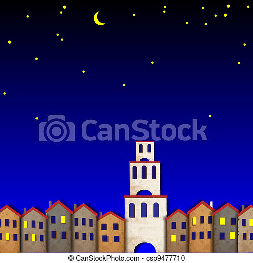 Townscape made from old paper at night - csp9477710