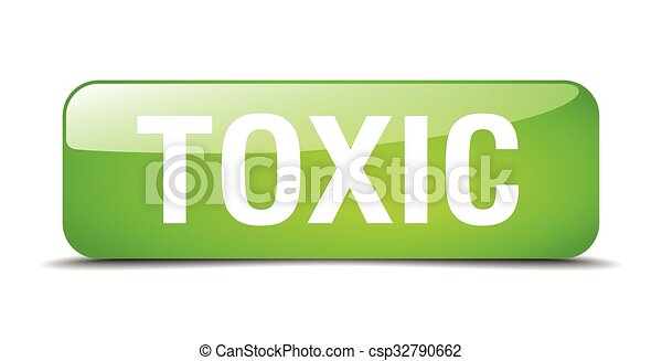 toxic green square 3d realistic isolated web button - csp32790662