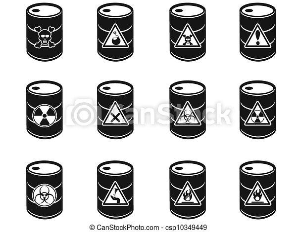 Toxic hazardous waste barrels icon - csp10349449