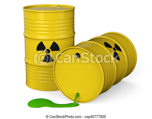 Toxic waste. Spilled yellow barrels with toxic waste ...