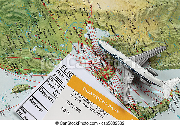Toy Airplane on Map of China - csp5882532