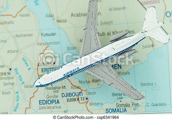 Toy Airplane on Map of northeast Africa - csp6341964