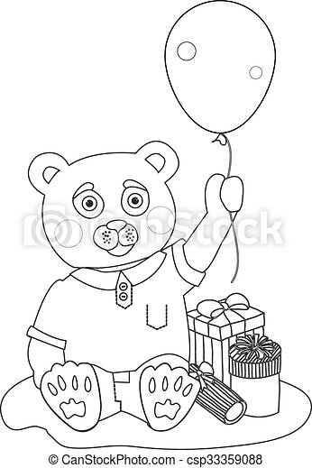 toy bear with present boxes and baloon. coloring page. toy... vector ...
