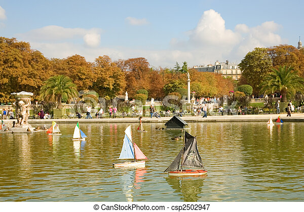 Toy Boats In The Luxembourg Garden Of Paris France Pirate Boat