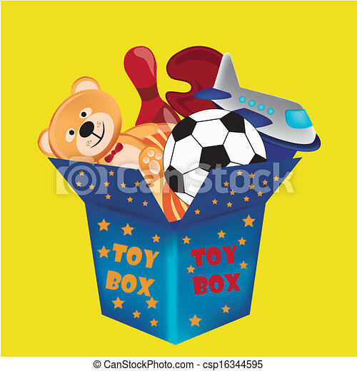 a blue toy box with a lot of toys inside it rh canstockphoto com Table Toys Clip Art empty toy box clipart