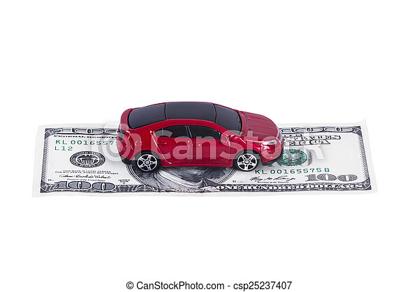 Toy Car on Single Dollar Banknote - csp25237407