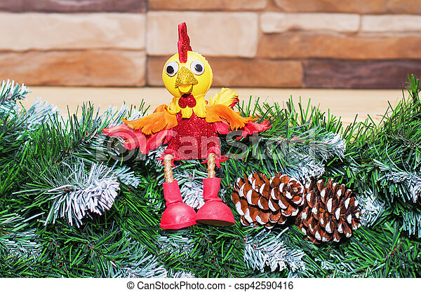 toy cock the symbol of the new year 2017 - csp42590416