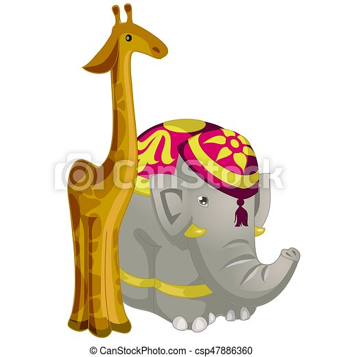 toy figurines giraffe and elephant isolated on white clip art vector rh canstockphoto com  giraffe clipart images