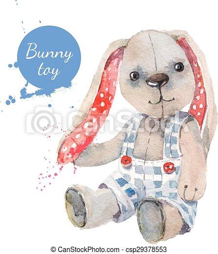 toy., gruß, abbildung, aquarell, vektor, kaninchen, karte - csp29378553