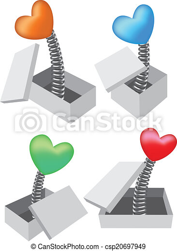Toy Heart Pop Out of Box Vector Illustration - csp20697949