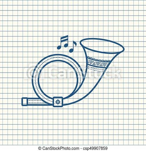 Post Horn. Un instrumento musical. Un juguete. - csp49907859