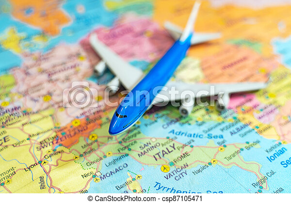 Toy of a plane on the Europe map. - csp87105471