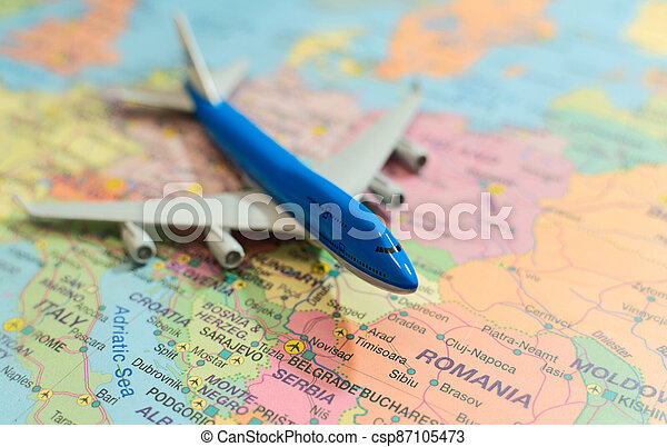 Toy of a plane on the Europe map. - csp87105473