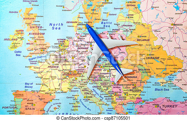 Toy of a plane on the Europe map. - csp87105501