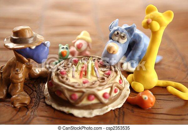 Toy Plasticine Happy Birthday Cake Over White