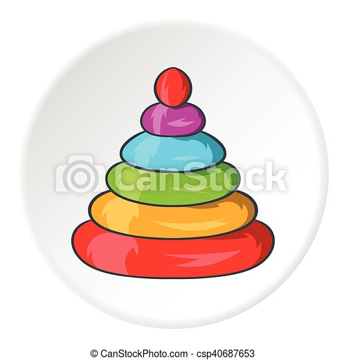 Toy pyramid icon, cartoon style - csp40687653