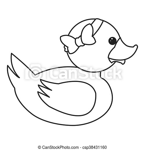 Flat Design Toy Rubber Duck With Bow Icon Vector Illustration