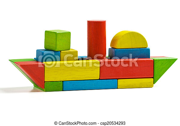 toy ship wooden blocks, shipping multicolor freight, isolated - csp20534293