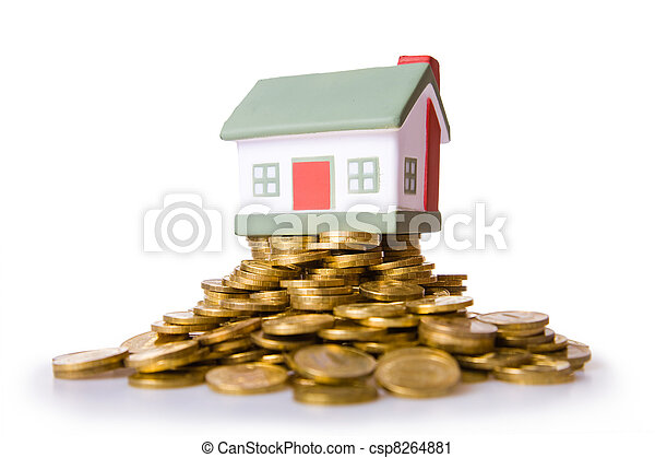 Toy small house standing on a heap of coins. - csp8264881