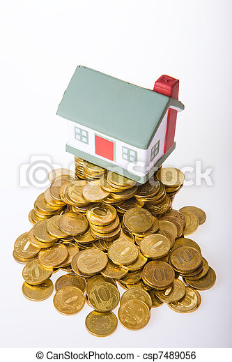 Toy small house standing on a heap of coins. - csp7489056