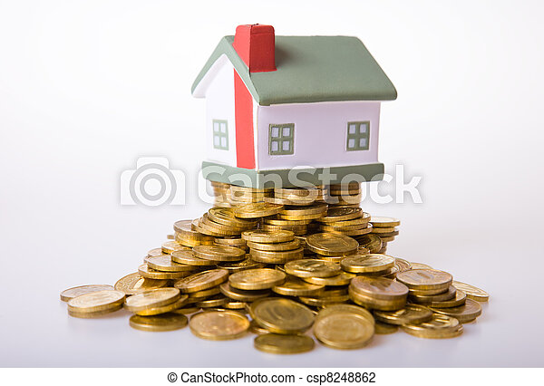 Toy small house standing on a heap of coins. - csp8248862