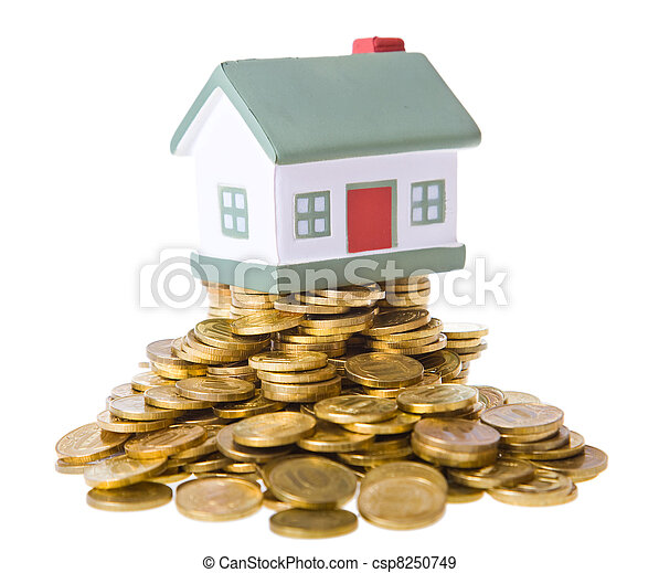 Toy small house standing on a heap of coins. - csp8250749