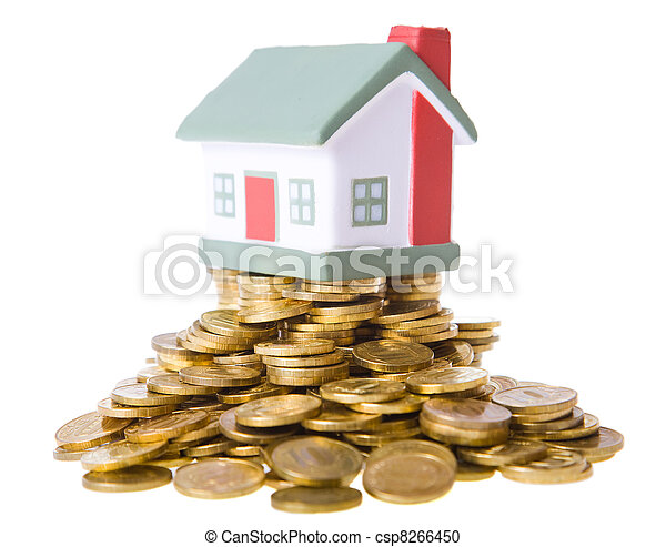 Toy small house standing on a heap of coins. - csp8266450