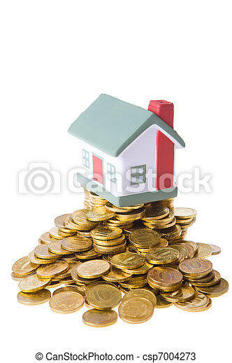 Toy small house standing on a heap of coins. - csp7004273