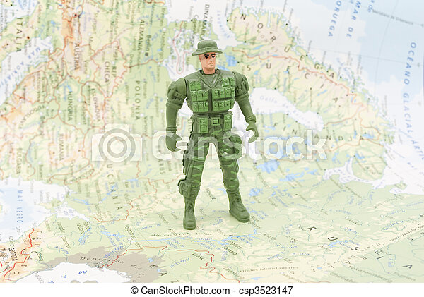 toy soldier on world map - csp3523147