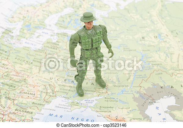 toy soldier on world map - csp3523146