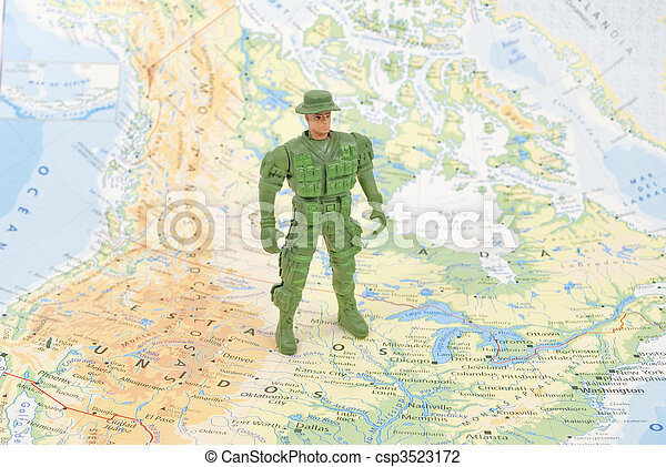 toy soldier on world map - csp3523172