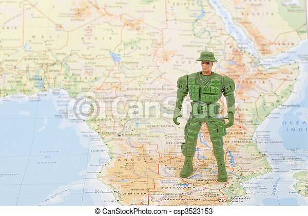 toy soldier on world map - csp3523153