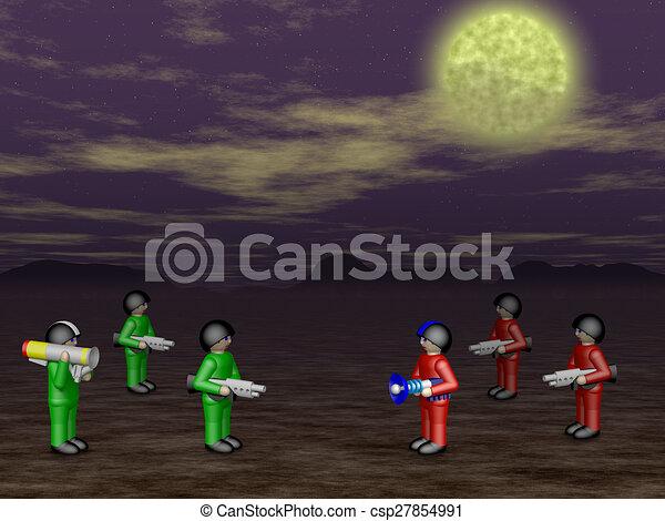 Toy soldiers in dark land - csp27854991