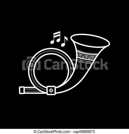 Post Horn. Un juguete. Estilo de dibujos animados. - csp49889873