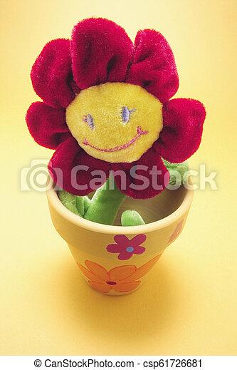 Toy Sunflower in Pot - csp61726681