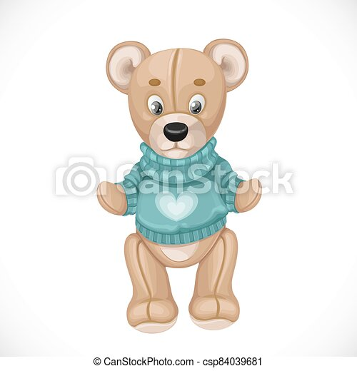 Toy teddy bear in a green sweater isolated on white background - csp84039681