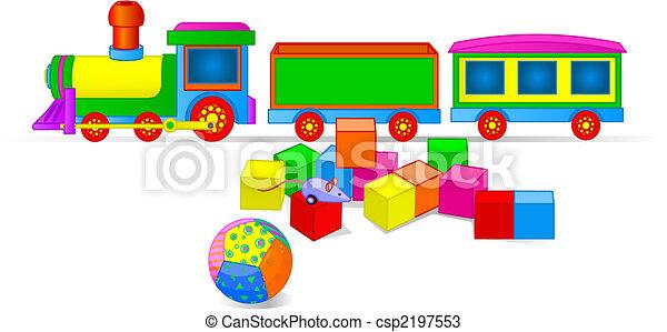 Toy Train and Blocks - csp2197553