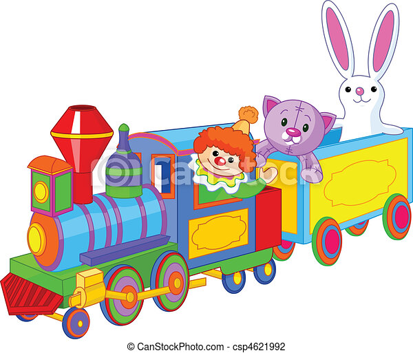 toy train and toys toy train clown cat and bunny sitting rh canstockphoto com Wood Toy Trains toy train clip art free
