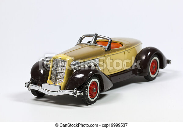 Toy Vintage Model Car with Red Wheels - csp19999537