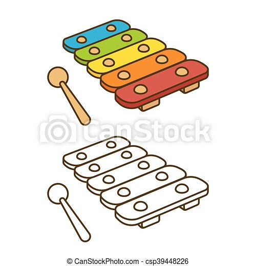 Toy Xylophone Illustration Cartoon Vector Coloring