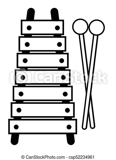 toy xylophone isolated a toy xylophone in black and white clip rh canstockphoto com