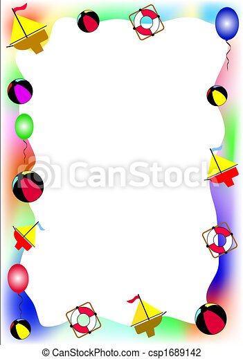 Toys Border Colorful Border Out Of Many Little Baby Toys
