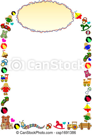 toys border with frame in the top - csp1691386