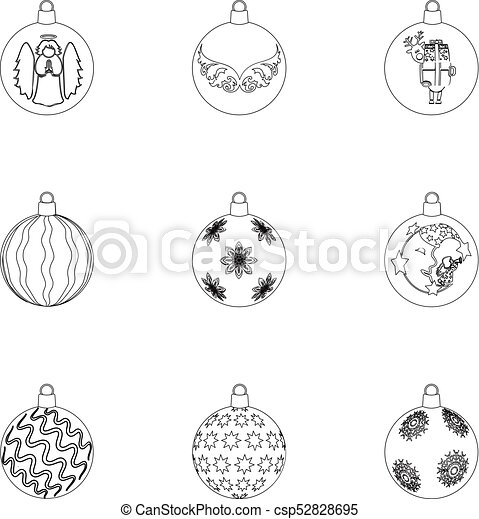 Toys For A Christmas Tree Outline Icons In Set Collection For Design